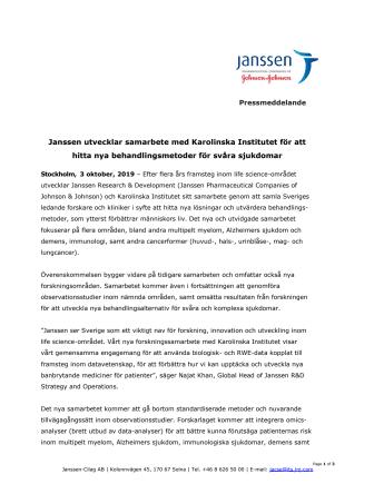 Janssen utvecklar samarbete med Karolinska Institutet för att hitta nya behandlingsmetoder för svåra sjukdomar