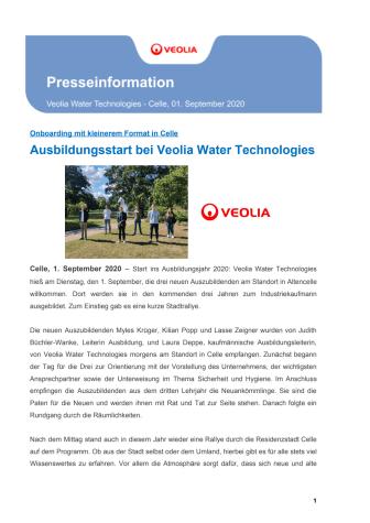 Ausbildungsstart bei Veolia Water Technologies
