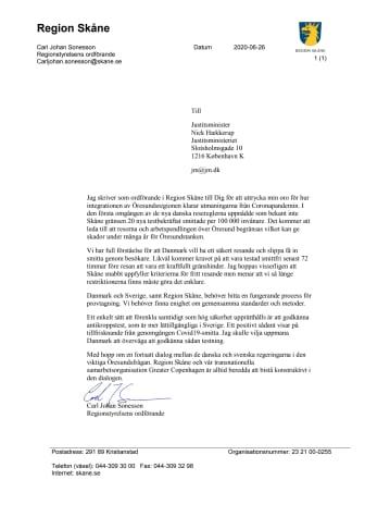 Skrivelse till Danmarks justitieminister