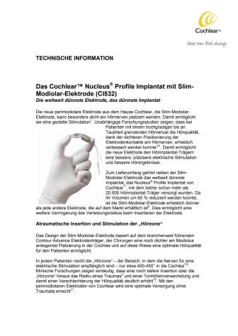 TECHNISCHE INFORMATION - Cochlear™ Nucleus® Profile Implantat mit Slim-Modiolar-Elektrode (CI532)