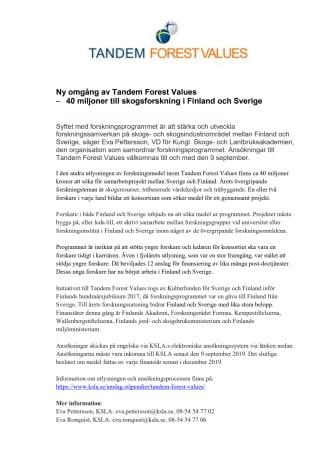 Ny omgång av Tandem Forest Values – 40 miljoner till skogsforskning i Finland och Sverige