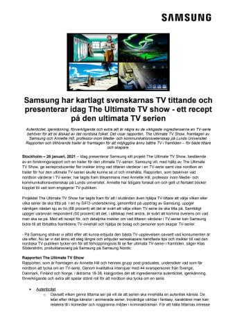 Samsung har kartlagt svenskarnas TV tittande och presenterar idag The Ultimate TV show - ett recept på den ultimata TV serien