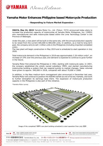 Yamaha Motor Enhances Philippine based Motorcycle Production - Responding to Future Market Expansion -