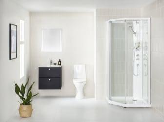 Viisikulmainen IDO Showerama -suihkukaappi, musta IDO Elegant -alakaappi ja IDO Glow 62 -wc-istuin