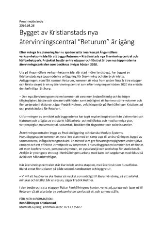 """Bygget av Kristianstads nya återvinningscentral """"Returum"""" är igång"""