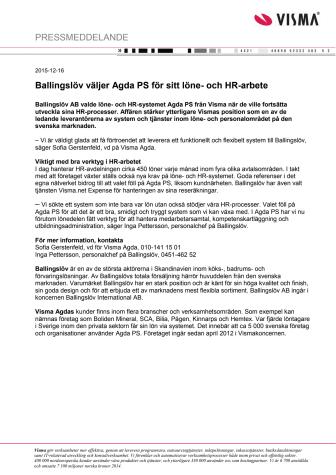 Ballingslöv väljer Agda PS för sitt löne- och HR-arbete
