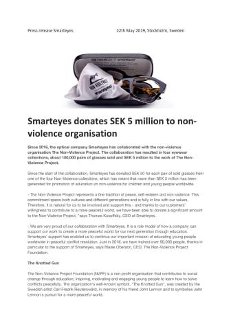 Smarteyes donates SEK 5 million to non-violence organization