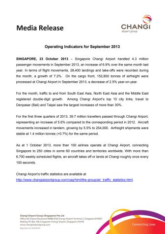 Operating Indicators for September 2013