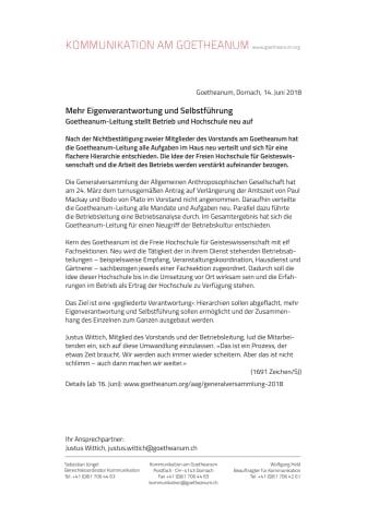 Mehr Eigenverantwortung und Selbstführung. Goetheanum-Leitung stellt Betrieb und Hochschule neu auf