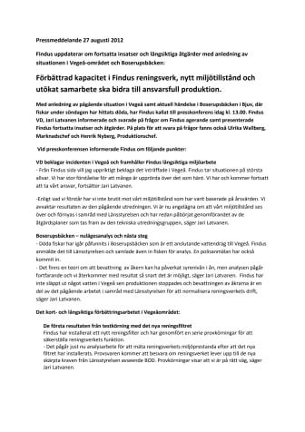 Förbättrad kapacitet i Findus reningsverk, nytt miljötillstånd och utökat samarbete ska bidra till ansvarsfull produktion