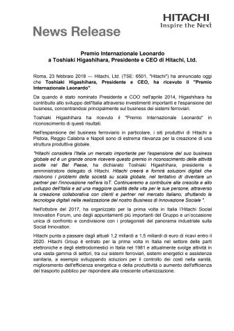 Premio Internazionale Leonardo a Toshiaki Higashihara, Presidente e CEO di Hitachi, Ltd.