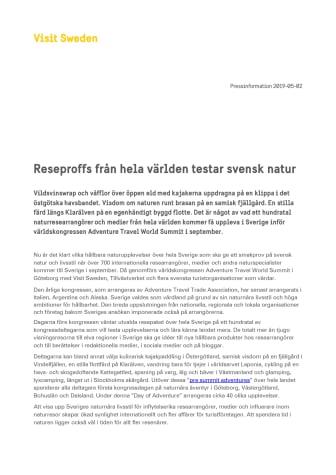 Reseproffs från hela världen testar svensk natur