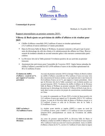 Rapport intermédiaire au premier semestre 2019 : Villeroy & Boch ajuste ses prévisions de chiffre d'affaires et de résultat pour 2019