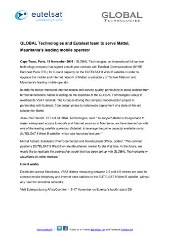 GLOBAL Technologies and Eutelsat team to serve Mattel, Mauritania's leading mobile operator