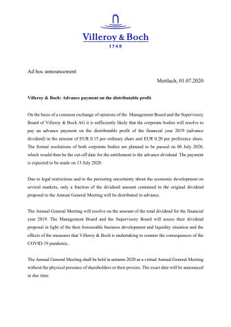 Villeroy & Boch: Advance payment on the distributable profit