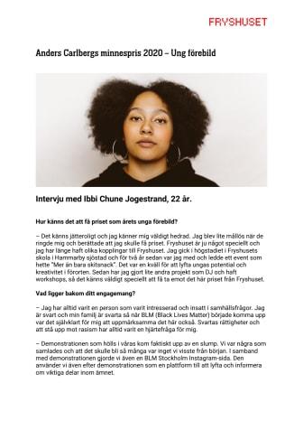 Intervju med Årets unga förebild: Ibbi Chune Jogestrand