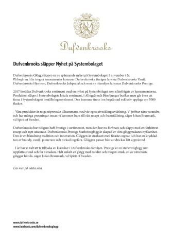 Dufvenkrooks släpper Nyhet på Systembolaget