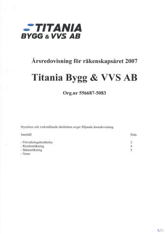 Titanias årsredovisning för 2007
