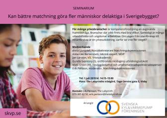 Seminarium - Kan bättre matchning göra fler människor delaktiga i Sverigebygget?