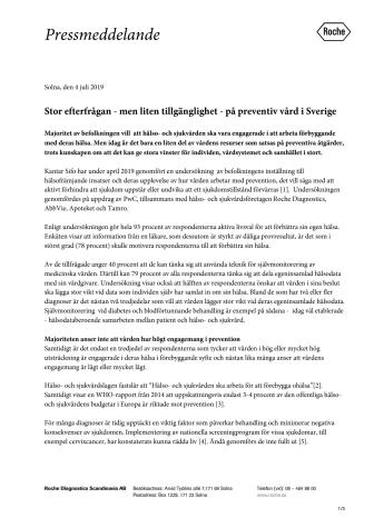 Stor efterfrågan - men liten tillgänglighet - på preventiv vård i Sverige