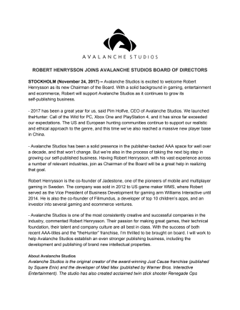 Robert Henrysson Joins Avalanche Studios Board of Directors