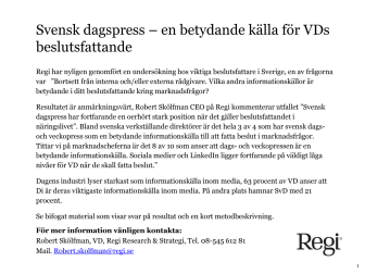Svensk dagspress – en betydande källa för VDs beslutsfattande