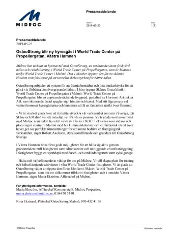 OsteoStrong blir ny hyresgäst i World Trade Center på Propellergatan, Västra Hamnen