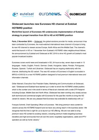 Globecast launches new Euronews HD channel at Eutelsat HOTBIRD position