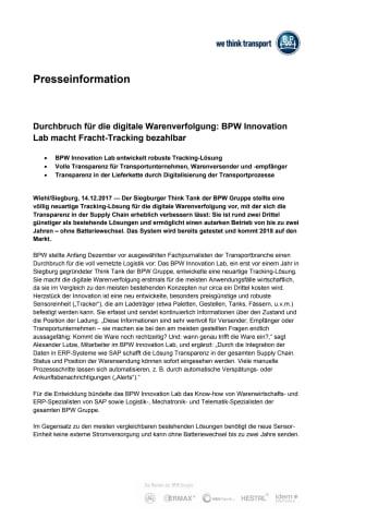 Durchbruch für die digitale Warenverfolgung: BPW Innovation Lab macht Fracht-Tracking bezahlbar