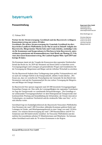 Gerolsbach und Bayernwerk bleiben Partner bei der Stromversorgung