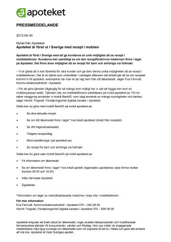 Apoteket är först ut i Sverige med recept i mobilen