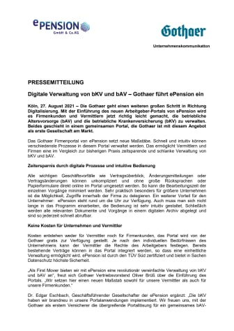 Digitale Verwaltung von bKV und bAV – Gothaer führt ePension ein
