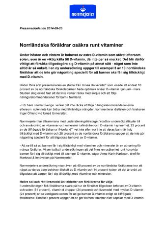 Norrländska föräldrar osäkra runt vitaminer
