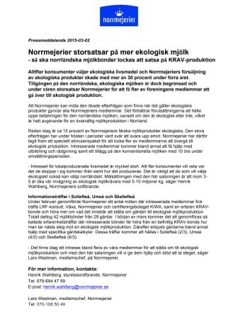 Norrmejerier storsatsar på mer ekologisk mjölk: Så ska norrländska mjölkbönder lockas att satsa på KRAV-produktion