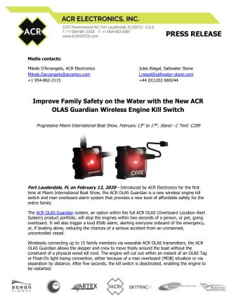 Miami International Boat Show: Improve Family Safety on the Water with the New ACR OLAS Guardian Wireless Engine Kill Switch