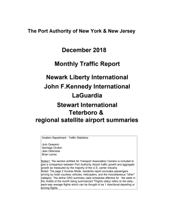 The Port Authority of New York & New Jersey - monthly traffic report - December 2018