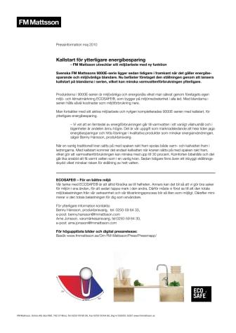 Kallstart för ytterligare energibesparing - FM Mattsson utvecklar sitt miljöarbete med ny funktion