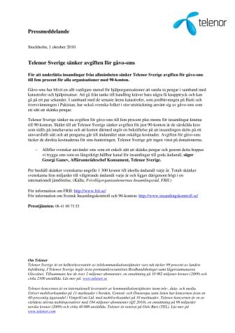 Telenor Sverige sänker avgiften för gåvo-sms