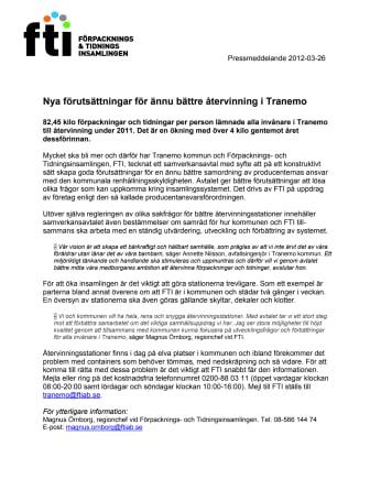 Nya förutsättningar för ännu bättre återvinning i Tranemo