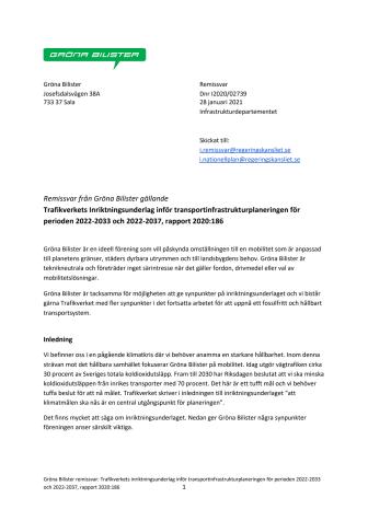 Gröna Bilister Remissvar Inriktningsunderlag inför transportinfrastrukturplanering.pdf