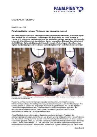 Panalpina Digital Hub zur Förderung der Innovation lanciert