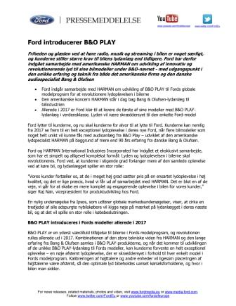 Ford introducerer B&O