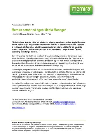 Memira satsar på egen Media Manager - Henrik Ström lämnar Carat efter 17 år.