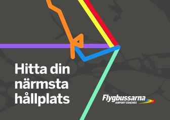 Flygbussarnas nya digitala tjänst ─ hitta närmsta hållplats.