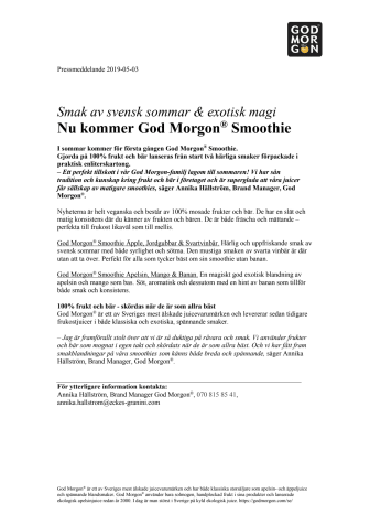 Smak av svensk sommar & exotisk magi - Nu kommer God Morgon® Smoothie