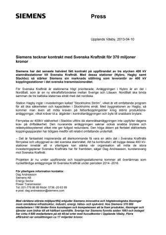Siemens tecknar kontrakt med Svenska Kraftnät för 370 miljoner kronor