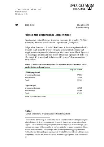 FÖRBIFART STOCKHOLM - KOSTNADER / Riksdagens Utredningstjänst (RUT)
