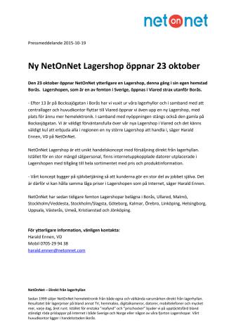 Ny NetOnNet Lagershop öppnar 23 oktober