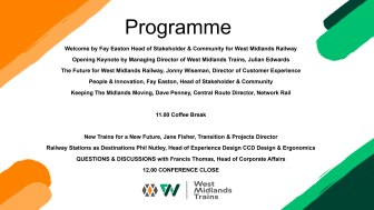 West Midlands Railway - Recovery and Inspiration Conference - June 2020
