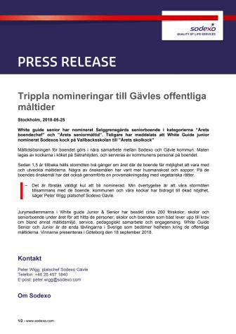 Trippla nomineringar till Gävles offentliga måltider